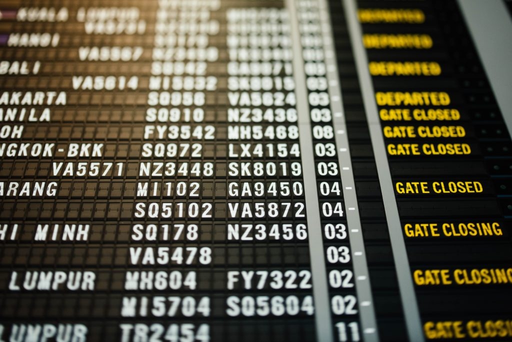 picture of airport departure board